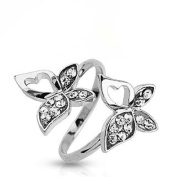 Multi Clear Crystal Double Butterfly Adjustable Rhodium Plated Brass Mid Range Toe Ring Fits Fingers and Toes