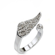 Clear Multi Crystal Encrusted Angel Wing Adjustable Rhodium Plated Brass Mid Range Toe Ring Fits Fingers and Toes