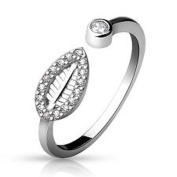 Multi Clear Crystal Open Leaf Design 925. Sterling Silver Adjustable Toe Ring, 925, Silver Marked
