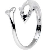 Clear Crystal Somersaulting Dolphin Design 925. Sterling Silver Adjustable Toe Ring, 925, Silver Marked