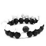Belons 2PCs Stretch Bracelet 8mm White Howlite Black Lava Stone Beads Buddha Bracelet Distance Bracelets