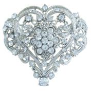 Sindary 5.5cm Bridal Wedding Love Heart Brooch Pin Clear Austrian Crystal UKB4640