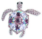 Sindary 6cm Lovely Animal Turtle Tortoise Brooch Pin Austrian Crystal Pendant UKB3344