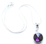 Liberty Charms 'February Birthstone' Sterling Silver Necklace with Silver Plated 18mm Pendant