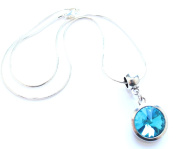 Liberty Charms 'March Birthstone' Sterling Silver Necklace with Silver Plated 18mm Pendant