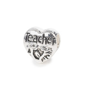 Liberty Charms Silver Plated Teacher Heart Charm Will Fit Most Charm Bracelets