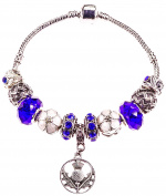 'Flower of Scotland' Charm Bracelet, Blue, White, Enamel and Rhinestone Crystal, with Gift Box, Jewellery for Women, Teens, 19cm