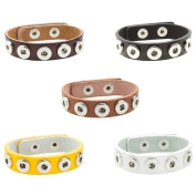 Soleebee PU Leather Alloy 5-holes Snap Button Bracelet Fit 12mm Charms