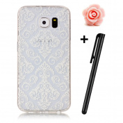 Samsung Galaxy S6 Case,Samsung Galaxy S6 Cover,TOYYM [Slim Fit] Clear Soft Flexible Silicone TPU Rubber Gel Case Cover with White FLower Pattern Design,[Scratch Resistant] Transparent Protective Bumper Backcover Skin for Samsung Galaxy S6