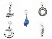 Set of Five shell boat anchor life ring Marine Sea themed silver tone charms for locket necklace and bracelet