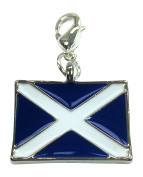 Rectangular Scottish Flag / The Saltire / St Andrew's Cross / Scotland Flag Clip on Charm with Gift Box Handmade by Libby's Market Place ~ From UK Seller