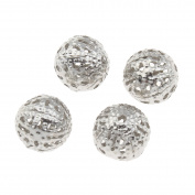 Selbst verkaufen 50 Diamante Effect Metal Beads Filigree Beads Ball 10 mm Silver Spacer M91
