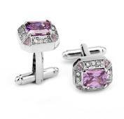 Cosanter Stud Cufflinks Crystal Rhinestone Silver Purple Cufflink for Wedding Office Suits 1 Pair