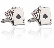 Cosanter Stud Cufflinks Fashion Silver Poker Cards Design Cufflink for Wedding Office Party 1 pair