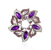 Cosanter Unisex Brooches Pins Elegant Noble Hollow Rhinestone Round Flower Purple Wedding Breast Pin