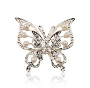 Cosanter Brooches Pins Elegant Hollow Two Rhinestone Butterfly Designed Brooch Pin for Wedding Prom