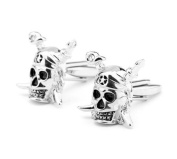 CMJ Pirate Skull and Crossbones Silver Coloured Cuff Links Pirates Mens UK Seller