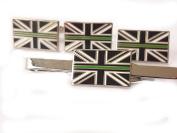 Thin Gree Line Ambulance Service Cufflinks Lapel Badge, Tie Clip Gift Set