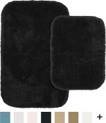 Garland Rug 2-Piece Finest Luxury Ultra Plush Washable Nylon Bathroom Rug Set, Black