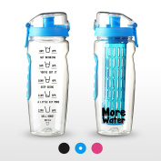 2 in 1 Fruit Infuser Water Bottle + Motivational Time Markings Helps You Hydrate - Large 1 Litre - 3 Colours - No Leak Design + Free Infusion eBook For Detox