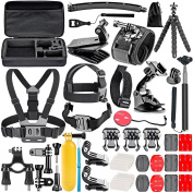 CulturesIn 50-In-1 Sports Action Camera Accessories Kit Case for GoPro Hero Session/5 Hero 1 2 3 3+ 4 5 SJ4000 5000 6000 DBPOWER AKASO VicTsing APEMAN WiMiUS Rollei QUMOX Lightdow Campark And Sony Sports DV and More