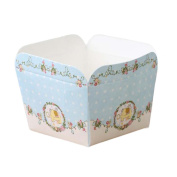 50 Pcs Paper Baking Cup Heat-Resistant Square Cupcake & Muffin Cup - Blue Elephant