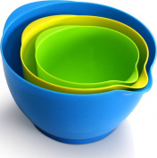 Mixing Bowl Ser (3 piece- 1.1ls, 1.1ls, 1.1ls) Simple Grip Handle With Non Skid Base by Utopia Kitchen