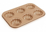Madeleine Pan 6-Cup Shell Cake Baking Cup Mould Non Stick Gold Carbon Steel 6.4cm cup Bakeware