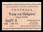1968 Yale v Colgate Football Ticket 10/5/68 Yale Bowl 27568