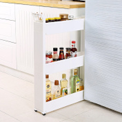 CFstc Kitchen Storage Trolleys Slide Out Storage Tower Movable Detachable Shelf With Wheels 2 Tier & 3 Tier & 4 Tier For Kitchen Bathroom Living Room (White)