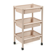 CFstc Kitchen Storage Trolleys Slide Out Storage Tower Movable Detachable Shelf With Wheels 3 Tier For Kitchen Bathroom Living Room