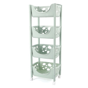 CFstc Kitchen Storage Trolleys Slide Out Storage Tower Movable Detachable Shelf With Wheels 4 Tier For Kitchen Bathroom Living Room
