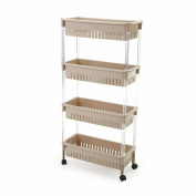 Kitchen Storage Trolleys Slide Out Storage Tower Movable Detachable Shelf With Wheels 4 Tier For Kitchen Bathroom Living Room