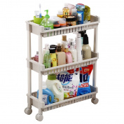 Kitchen Storage Trolleys Slide Out Storage Tower Movable Detachable Shelf With Wheels 3 Tier & 4 Tier For Kitchen Bathroom Living Room