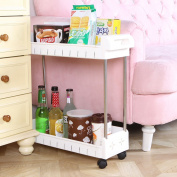 Kitchen Storage Trolleys Slide Out Storage Tower Movable Detachable Shelf With Wheels 2 Tier For Kitchen Bathroom Living Room(White)