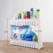 Kitchen Storage Trolleys Slide Out Storage Tower Movable Detachable Shelf With Wheels 2 Tier For Kitchen Bathroom Living Room