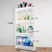 Kitchen Storage Trolleys Slide Out Storage Tower Movable Detachable Shelf With Wheels 4 Tier For Kitchen Bathroom Living Room 54CM * 12.8CM * 103CM