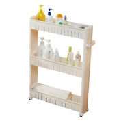 Kitchen Storage Trolleys Slide Out Storage Tower Movable Detachable Shelf With Wheels 3 Tier For Kitchen Bathroom Living Room(White)