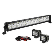 YITAMOTOR 60cm 120W LED Light Bar Combo + 2PCS 18W Spot Pod Lights with Wiring Harnesses for Offroad Truck, 4X4, ATV, Boat, Jeep, Motorcycle, Trailer, 3 Years Warranty