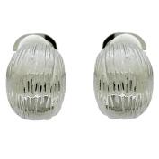 Clip On Earrings Store Silver Rectangular Grain Walnut Clip On Earrings