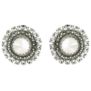 Clip On Earrings Store Large Clear Crystal & Marcasite Silver Round Clip On Earrings