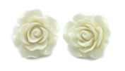 Bluebubble ENGLISH ROSE 22mm Snow White Carved Rose CLIP ON Earrings With FREE Gift Box