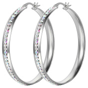 Oidea Stainless steel Womens 50mm Large Circle Hoop Earrings Shiny Colourful Rhinestone Inlaid