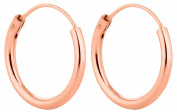 Sterling Silver Rose gold plated 14mm Hinged Sleeper Earrings