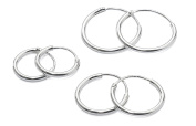 Silver Hoop Earrings size 10mm, 12mm & 14mm - available in Silver, Gold Plated or Rose Gold - SHIPPED FROM UK