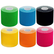 ROSENICE Athletic Tape Wrap Self Adherent Wrap Bandage Set of 6 Different Colours