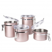 Creative Home 50259 4-Piece Stainless Steel Canister, Container Set with Air Tight Lid, and Locking Clamp, Rose Gold