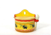 Olive Branch Design Ceramic Salt Box with Wooden Spoon