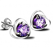 Westeng Earrings Women Silver Ear Stud Purple Crystal Jewellery Earring Eternal Heart Sterling, 1 Pair