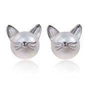 Meow Star Pearl Cat Stud Earrings Kitten Whisker Ear Studs Freshwater Cultured Pearl Earrings Cat Jewellery Sterling Silver Post Earrings for Girls